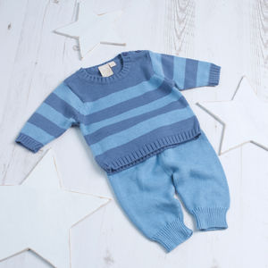 Baby Boy Stripy Knitted Two Piece Set