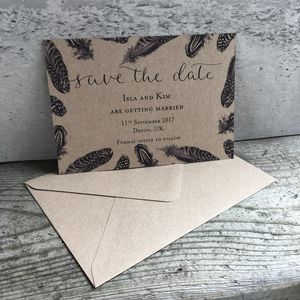 Feather Modern Calligraphy Save The Date Card - save the date cards