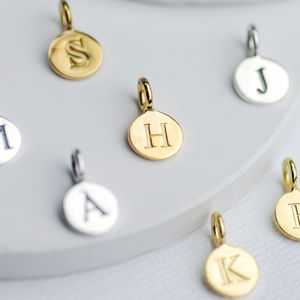 Sterling Silver Initial Letter Disc Charms
