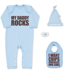 Baby Shower Gift Boy, My Daddy Rocks Newborn Gift Set