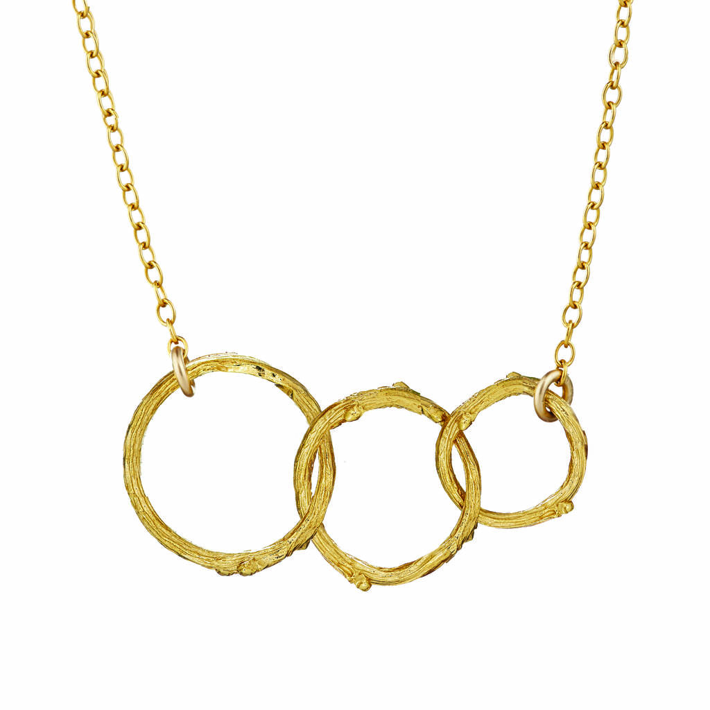 Hawthorn Twig Triple Circle Infinity Necklace Gold