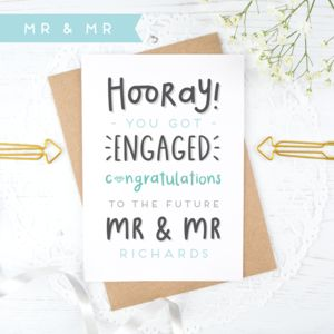 Personalised Mr And Mr Engagement Card