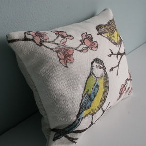 British Bird Print Herbal Sleep Pillow - bedroom