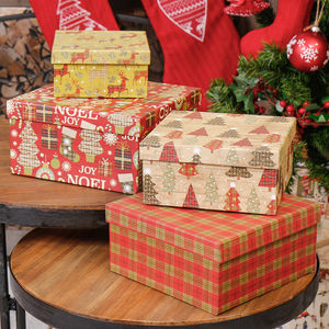 Set Of Four Christmas Tree And Reindeer Gift Boxes - wrapping