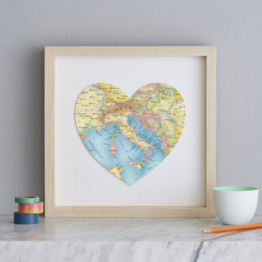 Personalised Location Italy Map Heart Print italy