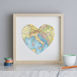Personalised Location Italy Map Heart Print