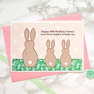 'Bunnies' Birthday Card From One, Two Or Three Children