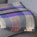 Grey And Purple Wool Blanket Throw