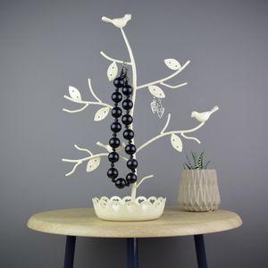 Personalised Perched Birds Jewellery Tree Cream