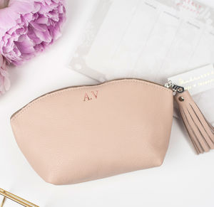 Luxury Personalised Leather Cosmetic Bag - make-up & wash bags