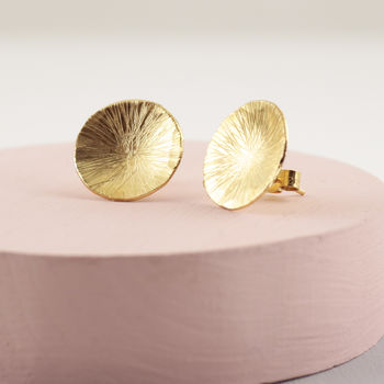 Organic Disc Statement Stud Earrings