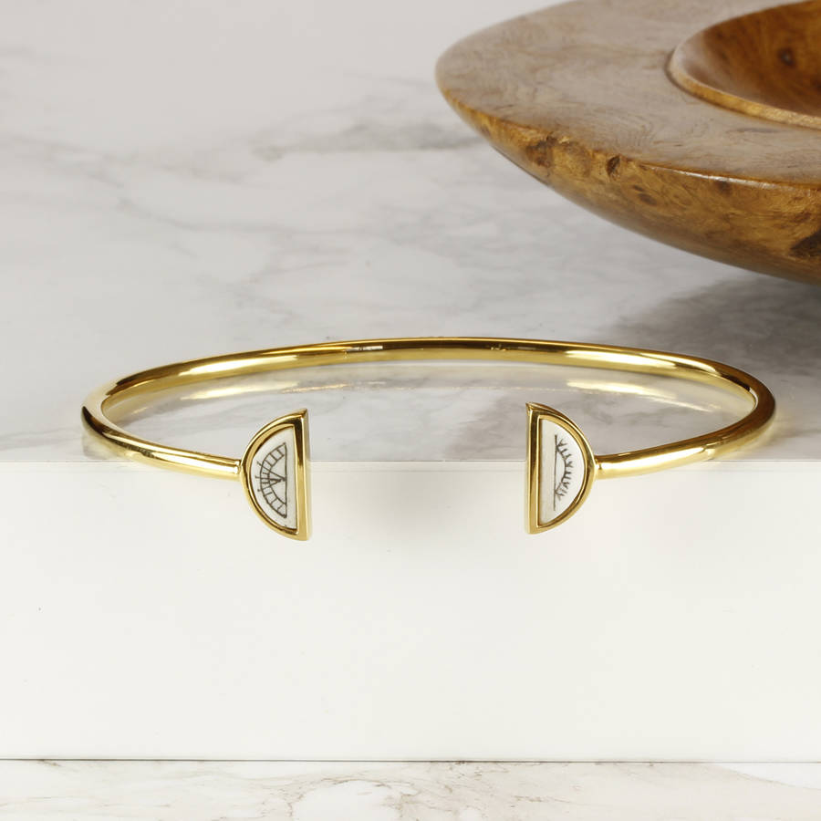 Silver And Gold Plated Sami Sun And Moon Bangle