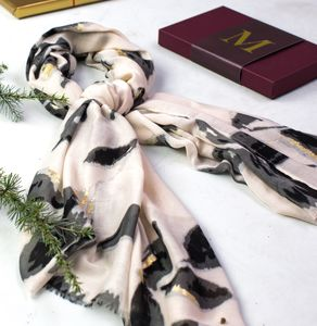 Monogrammed Water Colour, Gold Detail Scarf - scarves