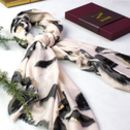 Monogrammed Water Colour, Gold Detail Scarf