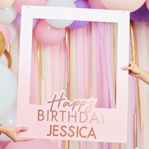 Rose Gold Personalised Happy Birthday Booth Frame