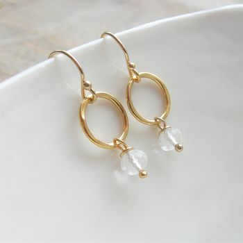 Clear Quartz Gold Circle Earrings