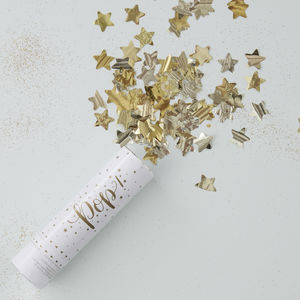 Gold Foiled Star Compressed Air Confetti Canon Shooter - confetti, petals & sparklers