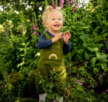 Moss green embroidered rainbow dungarees