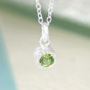Peridot August Birthstone Silver Round Necklace