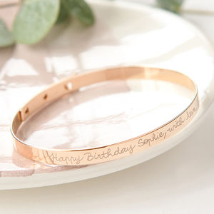 Personalised Large Flat Bangle - personalised