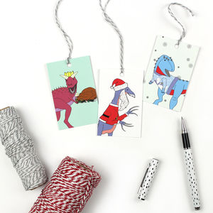 Mixed Dinosaur Christmas Gift Tags