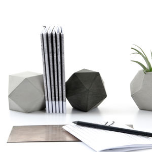 Set Of Two Geometric Concrete Sculptures, Paperweight