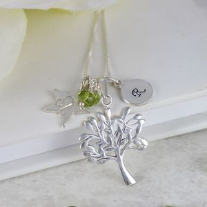 Personalised Tree Of Life Necklace With Birthstone - charm jewellery