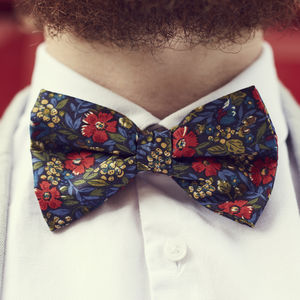Green And Red Floral Bow Tie