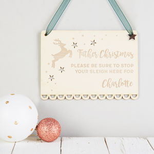 Father Christmas Please Stop Here Personalised Sign - christmas home accessories