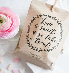 10 'Love Is Sweet' Personalised Paper Goodie Bags - wedding favours