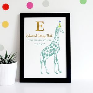 Personalised New Baby Birth Date Giraffe Print
