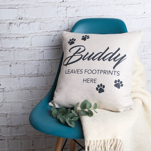 'My Pet Leaves Footprints Here' Cushion Cover - cushions