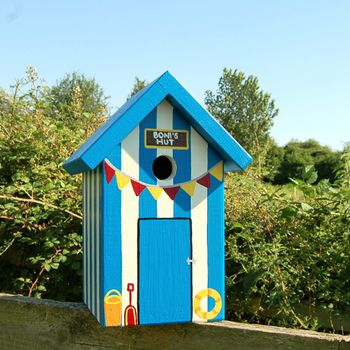 Personalised Beach Hut Bird Box By Lindleywood