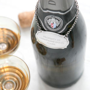 Personalised Champagne Bottle Tag - glass charms
