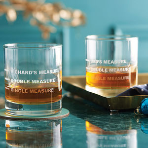 Personalised Drinks Measure Glass - gifts for men