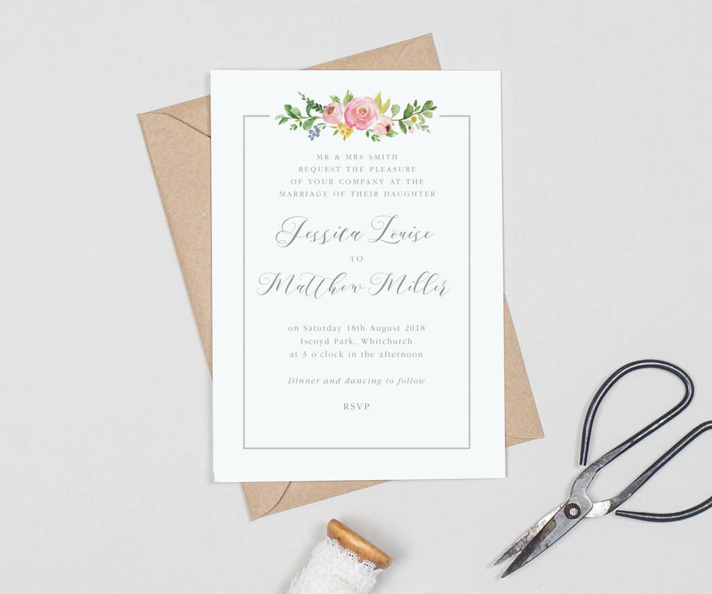 country floral border wedding invitations by project pretty