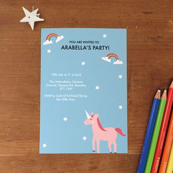 Children's Unicorn Personalised Party Invitations