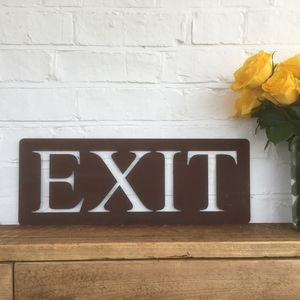Classic Rusted Metal Exit Sign