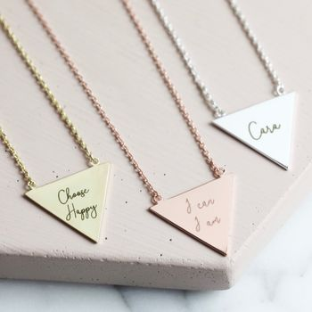 Personalised Large Triangle Necklace