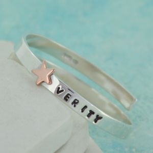 Personalised Gold Star Wraparound Baby Bangle - christening jewellery