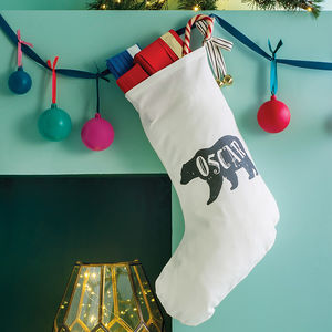 Personalised Polar Bear Name Christmas Stocking - stockings & sacks