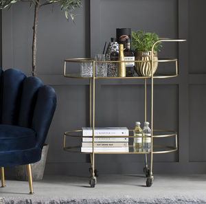Pale Gold Glass Bar Cart - side tables