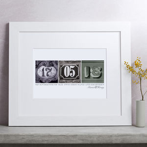 Personalised Date Art Print - commemorative gifts