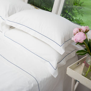 British Made Cotton Duvet Cover With Embroidered Finish