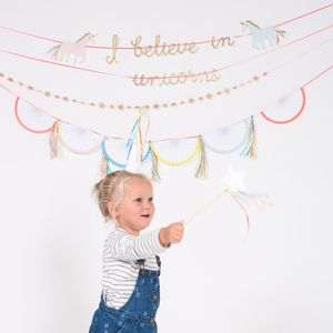 'I Believe In Unicorns' Paper Party Garland - baby's room