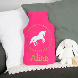 Personalised Sparkly Unicorn Hot Water Bottle Cover - bedroom