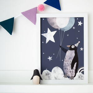 Flying Penguin In Clouds Children's Nursery Print - you saw them here first gifts