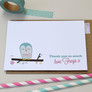 Pack Of 12 Personalised Owl Cards - thank you cards