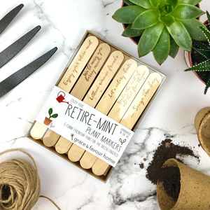 Personalised Retirement Pun Plant Markers - tools & equipment