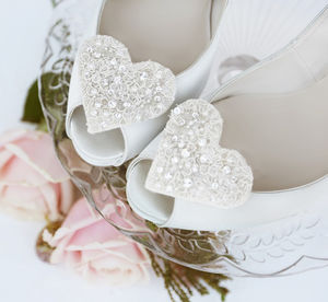 Amour Lace And Crystal Heart Shoe Clips - bridal shoes